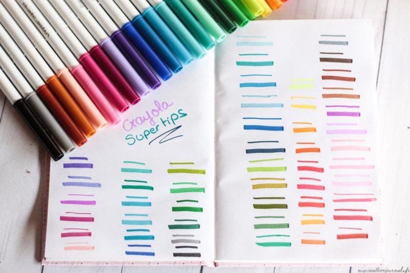crayola supertips feutres bullet journal swatchs