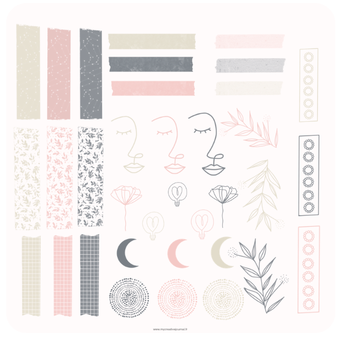 Free digital stickers moon faces washi