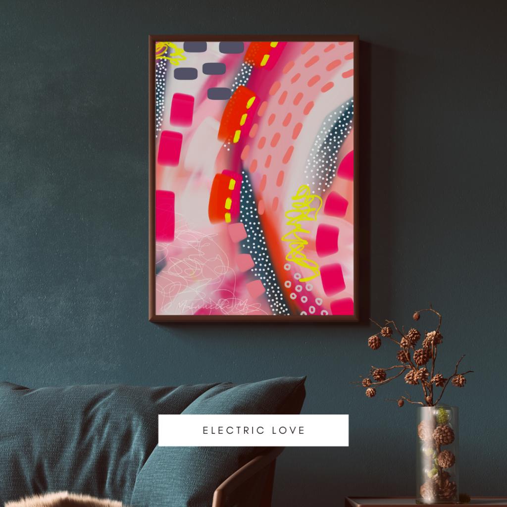 electric love art abstrait affiche