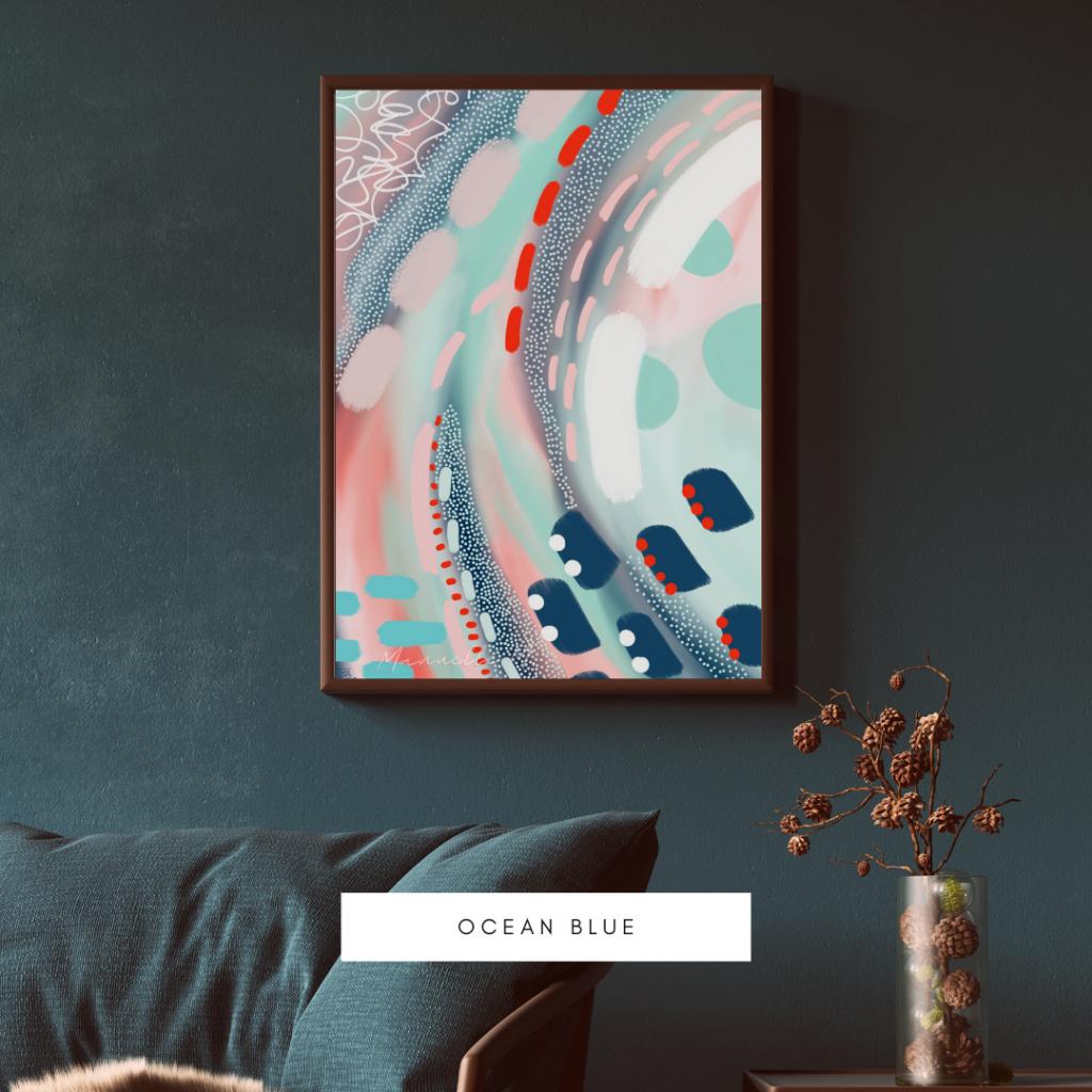 Art abstrait affiche Ocean Blue